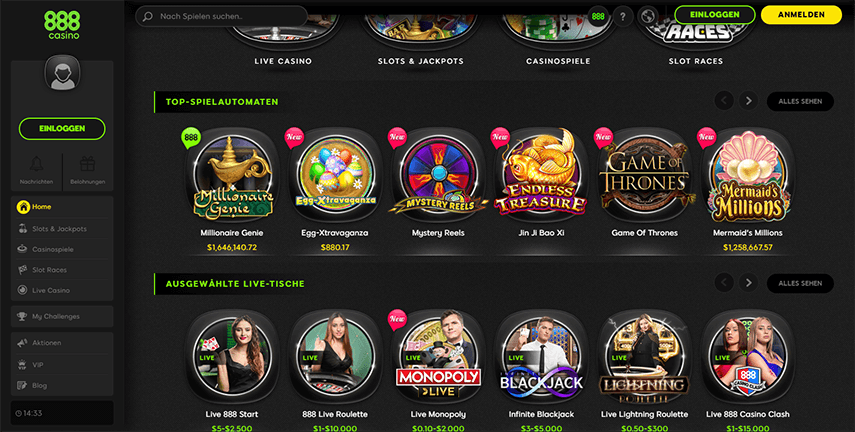 Screenshot der 888 Casino Plattform